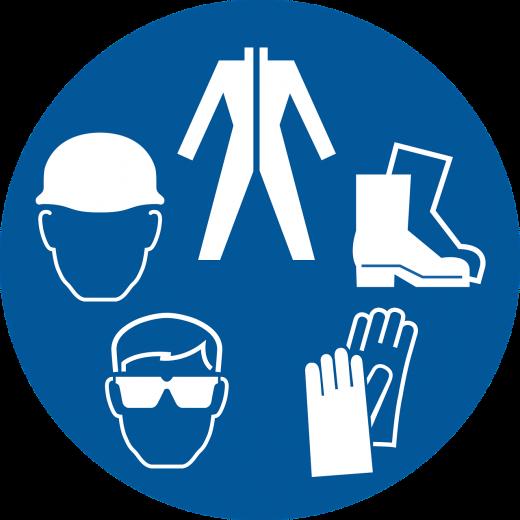 Placa de sinalização sobre EPI